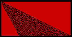 CellularAutomaton[{55339, 2, 3/2}, {{1}, 0}, {100}]
